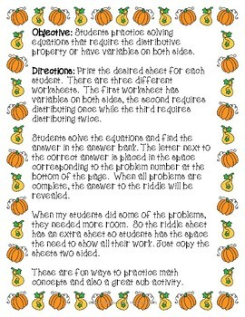 Equations Thanksgiving Riddle