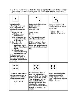 Equations - Think Dots Fun!