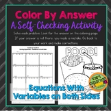 Equations  Variables on Both Sides Color By Answer