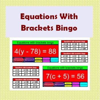 Equations With Brackets bingo