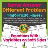 Equations With Variables on Both Sides - Partner Activity