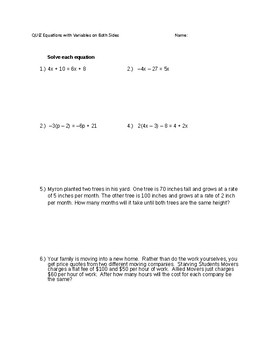 Equations With Variables on Both Sides W/ Word Problems