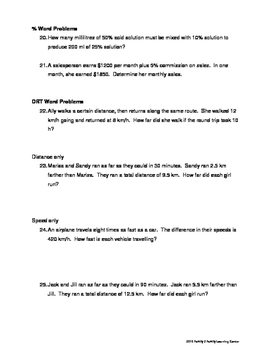 Equations Word Problems