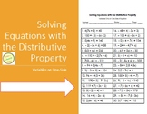 Equations Worksheet - Solving Equations with the Distributive Property