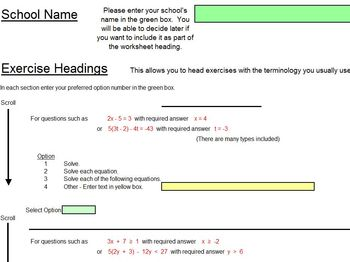 Equations - Worksheets - Whiteboard