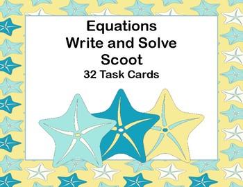 Equations-Write and Solve-32 Task Cards-Algebra-Starfish Theme