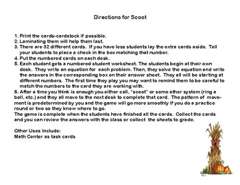 Equations-Write and Solve-32 Task Cards and Scoot -Algebra-Autumn Theme