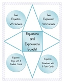 Equations and Expressions Bundle: Worksheets, Bingo, and Showdown!
