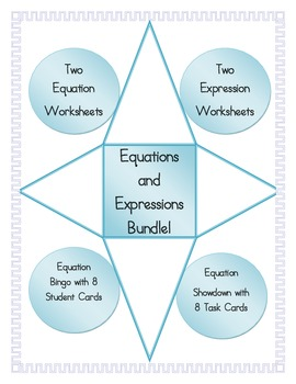 Equations and Expressions Bundle: Worksheets, Bingo, and S