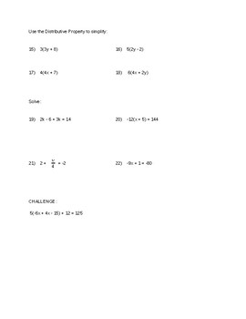 Equations and Expressions Quiz
