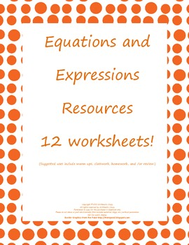 Equations and Expressions Resources: Homework/Review: Comm