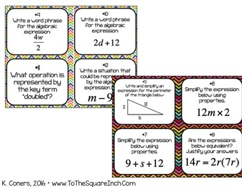 Equations and Expressions Task Cards- 6th Grade Math