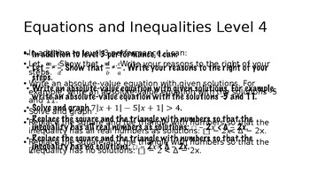 Equations and Inequaities Learning Goals and Scales
