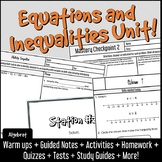 Equations and Inequalities Entire Unit! Warm Ups, Notes, Practice, Assessments