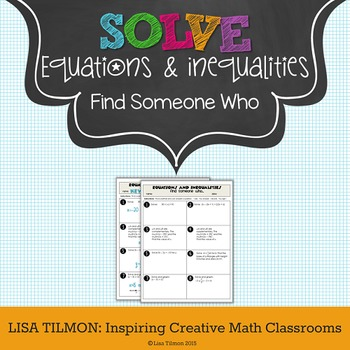 Equations and Inequalities Find Someone Who Activity
