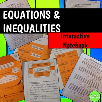 Equations and Inequalities Interactive Notebook 6th Grade