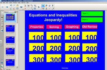 Equations and Inequalities Jeopardy - Style Review Game