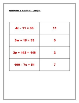 Equations and Inequalities Match Game