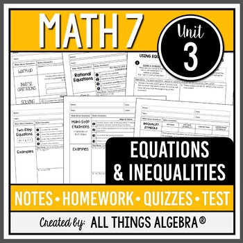 Equations and Inequalities (Math 7 – Unit 3)
