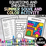 Equations and Inequalities No Prep Solve and Color Activit