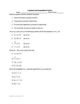 Equations and Inequalities Practice