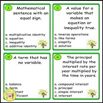Equations and Inequalities Pre-Algebra Task Cards