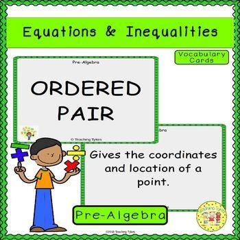Equations and Inequalities Pre-Algebra Vocabulary Cards