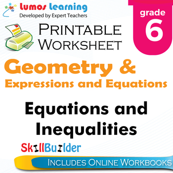 Equations and Inequalities Printable Worksheet, Grade 6