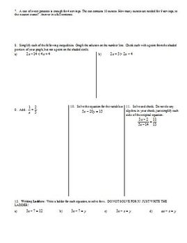 Equations and Inequalities Review Fall 2013 (Editable)