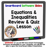 One Step Equations and Inequalities Review Quiz Smartboard Lesson