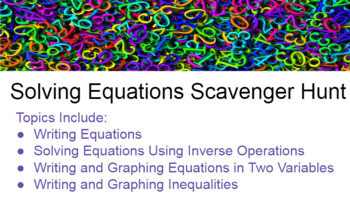 Equations and Inequalities Scavenger Hunt