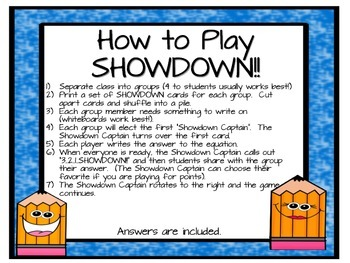 Equations and Inequalities Showdown Game (Positive Integers ONLY)