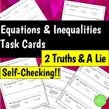 Equations and Inequalities Task Cards Two Truths and a Lie