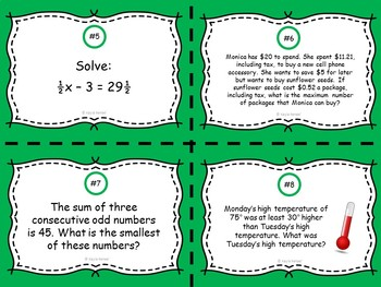 Equations and Inequalities Task Cards: 7.EE.4