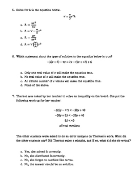 Equations and Inequalities Test