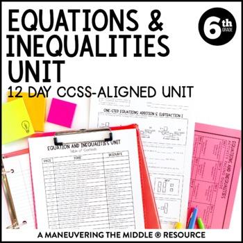 6th Grade Equations & Inequalities Unit: 6.EE.5, 6.EE.6, 6