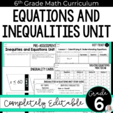 Equations and Inequalities Unit: 6.EE.5, 6.EE.7, 6.EE.8, 6.EE.9