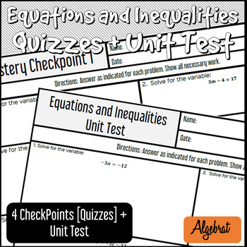 Equations and Inequalities Unit - Quizzes and Unit Test + Study Guides + Keys