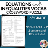 Equations and Inequalities Vocabulary Math Crossword Puzzle