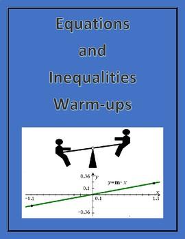 Algebra 1 - Equations and Inequalities Warm-ups