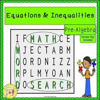 Equations and Inequalities Word Search