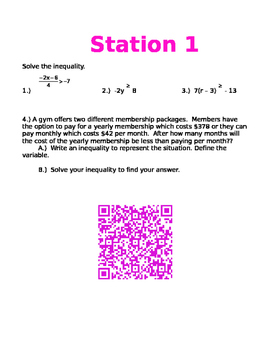 Equations and Inequality QR Review Stations