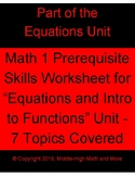 Equations and Intro to Functions Prerequisite Skills Worksheet