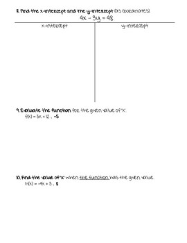 Equations and Linear Functions Test