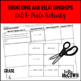Equations and Relationships Cut and Paste Activity