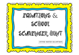 Equations and School Questions Scavenger Hunt 7th, 8th grade