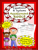 Equations & Systems Worksheets & Test - 8th Grade