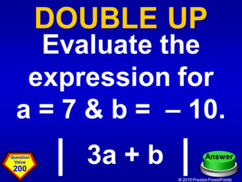 (7th) Quiz Show Game Integers in a PowerPoint Presentations