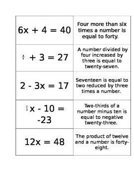 Equations and mathematical statements card sort EDITABLE (Equations intro)