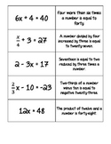 Equations and mathematical statements card sort (Equations intro)